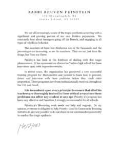 Rabbi Reuven Feinstein letter